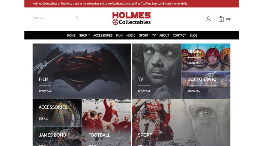MTTS Design & Solutions for Web, Branding & Communications. Holmes Collectables Project.