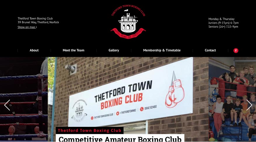 MTTS Design & Solutions for Web, Branding & Communications. Thetford Town Boxing Club Project.